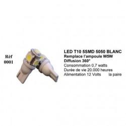 Ampoule Led T10 W5W Blanc (0026)
