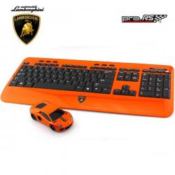 Clavier et souris d'ordinateur optique sans fil LAMBORGHINI Aventador Orange