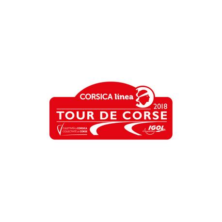 Plaque de Rallye Tour de Corse 2018 en autocollant