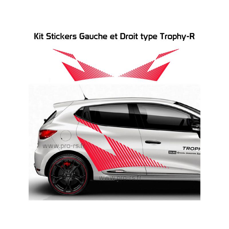 Kit Clio 4 Renault Sport Cup: Kit 2 Stickers Latéraux XL Renault Sport Type Trophy-R