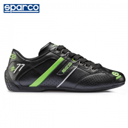 Chaussures SPARCO Time 77 en cuir pour homme NOIR/VERT FLUO